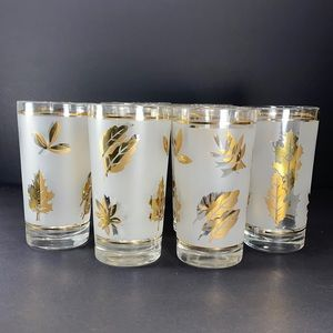 "Libbey ""GOLD LEAF"" Frosted Glass Set of 8"